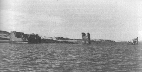 El templo de Debod sumergido en 1960.