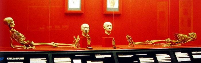 Fig. 3.- Los esqueletos de los dos hermanos son  suponen el ejemplo ideal; la correlación entre el icono y los restos (David R, Conversations  with Mummies, 2000) humanos. (Manchester)