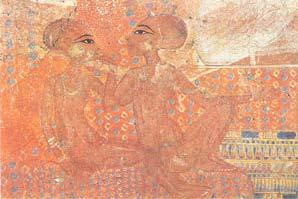 Fig. 12. Pintura de la residencia privada del faraón, en la que aparecen las hijas menores de Akhenatón: Neferneferuaten-tasherit y Neferneferure, Ashmolean Museum, Oxford.