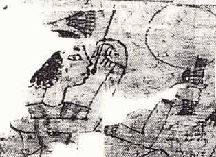 Fig. 23. Detalle de un papiro, donde se representa a una mujer pitándose los labios con un pincel.