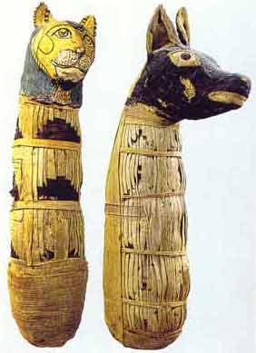 Fig. 7. Momias de gato y de perro. Museo del Louvre.