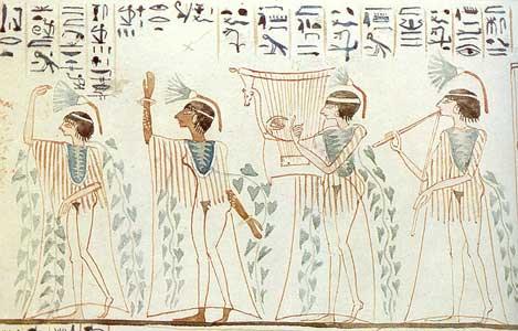 Fig. 26. Pintura de la tumba tebana del sacerdote de Amón Keynebu, perteneciente al reinado de Ramsés VIII. Representa la danza nubia denominada keskes.