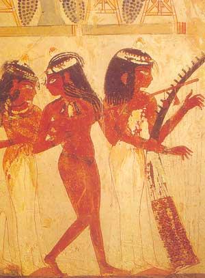 Fig. 27. Orquesta femenina de la decoración de la tumba de Nakht.