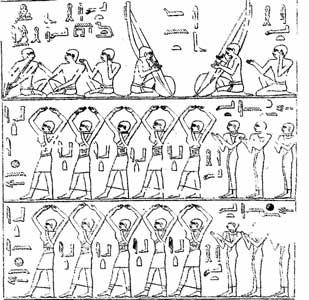 Fig. 28. Cantantes y bailarinas. Tumba de Ti. Imperio Antiguo.