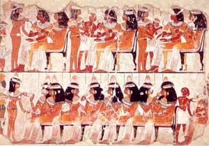 Fig. 29. Pintura sobre estuco de un banquete funerario. Tumba de Nebamón.