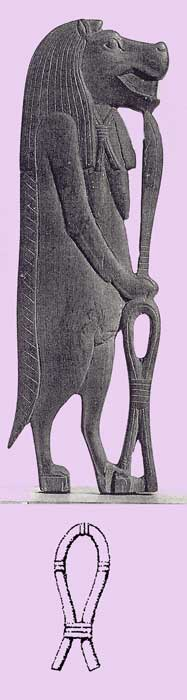 Fig. 42. Diosa Tweret, protectora de las embarazadas y de la infancia. Lleva un cuchillo y el símbolo Sa. El símbolo Sa garantizaba protecciónen especial en el momento del parto.