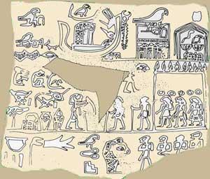 Fig. 47 - Tablilla que contiene en la línea superior el nombre Horus de Aha (en segundo lugar contando desde la derecha) y, frente a él, su nombre nebti Men. Museo Británico