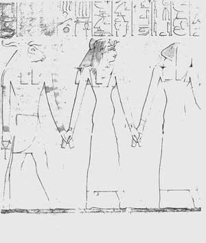 Fig. 81. La reina Ahmose, embarazada de Hatshepsut, conducida a la sala del parto, llevando el tocado de buitre.