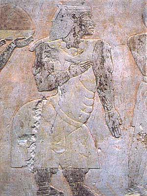 Fig. 83. La famosa expedición a Punt está representada en un relieve de la segunda columnata meridional del templo mortuorio de Hatshepsut. Aquí, Eti, la esteatopígica reina de Punt, una mujer de gran tamaño, en el relieve aparece acompañada de su marido, Peheru, mayor que ella y mucho más pequeño, y seguida por un diminuto asno mencionado en los jeroglíficos como el asno de la reina de Punt. Museo de El Cairo. El país de Punt, situado en la costa oriental de África y extendiéndose hacia el mar Rojo, había sido enclave comercial visitado desde la dinastía IV. Proveía a Egipto de animales exóticos, como panteras o avestruces, y muchas mercancías apreciadas como marfil, maderas tropicales, oro y sobretodo incienso, utilizado en los ritos a los dioses en los templos egipcios.