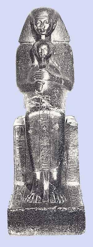 Fig. 84. Hatshepsut y su hija Neferure. Museo de El Cairo.