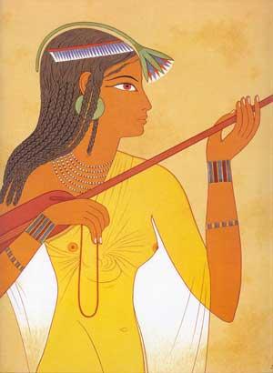 Fig. 88. Joven música interpretando el laud. Tumba del dignatario Tebano Kenamón que vivió en época de Amenofis II.