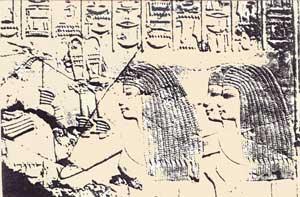 Fig. 94. Mujeres con sistros y menat. Tumba de Ramses l en Tebas.
