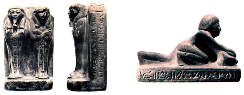 Fig. 6 y 7. Ushebti doble y ushebti con silueta de molinero.