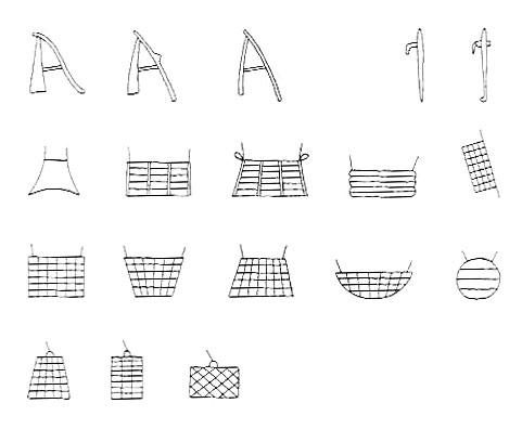 Fig. 14. Diferentes modelos de picos, azadas y sacos de grano.