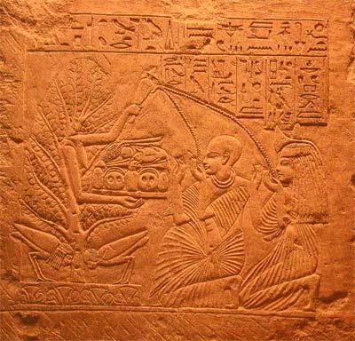 Estela de Niay, sacerdote de Sakhmet, y de su esposa. Saqqara, Imperio Nuevo