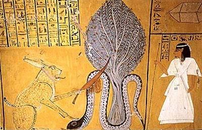 El gato de Heliópolis, que está vinculado al dios sol Re, da muerte a la malvada serpiente Apofis ante un árbol persea. Tumba de Inherkau (TT359). Deir el-Medina, XX dinastía