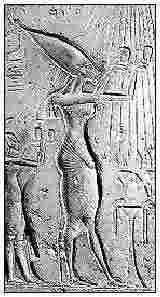 Fig. 2. Clásica representación alargada de Ajenatón. Piedra calcita-alabastro, museo de El Cairo RT 30.10.26.12.