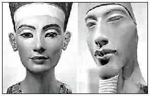 Fig. 6. Nefertiti (retocada) y Ajenatón. Los rasgos del rey siempre se representan con un marcado simbolismo. Busto de Nefertiti (Berlín 21300) y coloso de Ajenatón (Luxor).