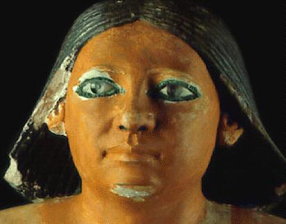 Fig. 5. Ojos de cristal. Escriba sentado. Museo de El Cairo.