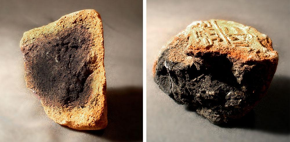 Fig. 3. Detalle de dos fragmentos de conos funerarios donde se observa el ennegrecimiento de su interior debido a la cocción irregular del barro. (Barcelona, colección privada).