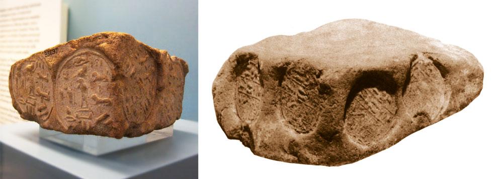Fig. 4. Dos adobes angulares con forma rectangular con cuatro improntas idénticas en dos de sus lados. El de la izquierda perteneciente a Ruru, jefe de los Medyai (Londres, British Museum, 35697), y el de la derecha al sacerdote wab en jefe, Denreg (publicado por Pernigotti, Nuova Collezione, tav. IX, Bolonia, Museo Civico Archeologico, Eg 3389). Núms. 158 y 45 respectivamente del Corpus de Davies & Macadam.