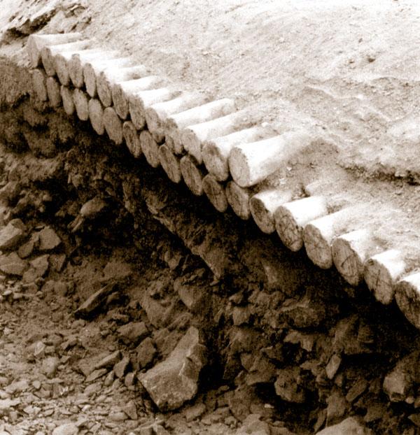 Fig. 13. Dos hileras de conos funerarios sin inscripciones encontrados por Winlock por encima de la puerta de una tumba de la dinastía XI en El Asasif (fotografía publicada por Wilkinson & Hill, Egyptian Wall Paintings, p. 17).