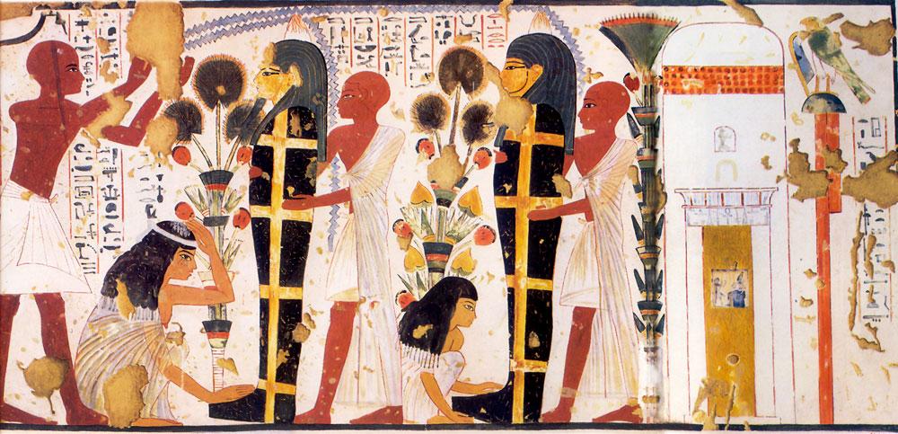 Fig. 14. Pintura del vestíbulo de la tumba TT 181 de los escultores Nebamón e Ipuky donde se pueden ver en la fachada de su capilla cuatro hileras de conos funerarios representados en forma de círculos pintados de color rojo.