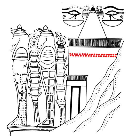 Fig. 16. Dibujo esquemático de una pintura del vestíbulo de la tumba TT 150 de Raia donde se representan dos hileras de conos funerarios en la fachada por encima de la puerta y dos más debajo del piramidón que culmina la tumba (adaptado a partir de Borchardt, Königsberger y Ricke, ZÄS 70, p. 28 Abb. 1 y Nina Davies, JEA 24, p. 32, fig. 14).
