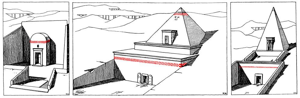 Fig. 19. Reconstrucción probable de las superestructuras de tres tumbas tebanas, realizada a partir de las representaciones pintadas en diferentes capillas funerarias, mostrando la posible localización de los conos funerarios. De izquierda a derecha: Tumba TT 181 de Nebamón e Ipuky de tiempos de Amenhotep III-IV; tumba TT 157 de Nebunenef y tumba TT 288 de Setau, ambas de época ramésida (adaptado a partir de la publicación de Borchardt, Königsberger y Ricke, ZÄS 70, p. 29 Abb. 5-7).