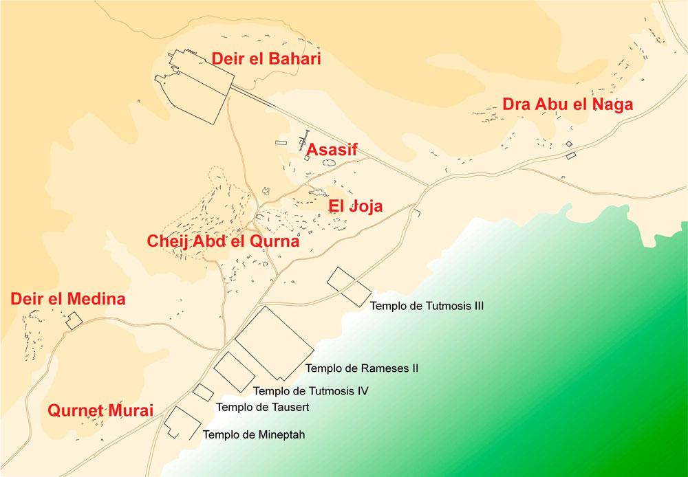 Fig. 22. Localización actual de las diferentes zonas de tumbas de la necrópolis tebana.