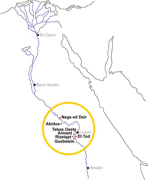Fig. 25. Mapa de Egipto donde se muestra la expansión esporádica en el uso de los conos funerarios sin inscripciones durante el Imperio Medio, desde Tebas hacia el Norte hasta Naga ed Deir, y de Tebas hacia el Sur hasta Guebelein.