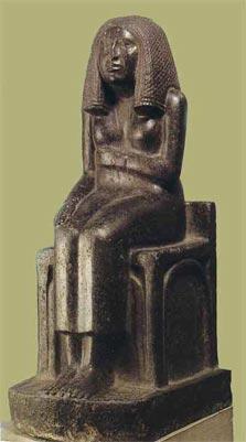 Fig.-2. Estatuilla de la princesa Redit sentada en un trono cúbico. III dinastía. Basanita. Probablemente Saqqara