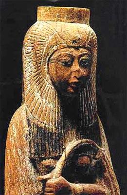 Fig.-3. Estatuilla de Ahmose Nefertari. Madera pintada. Dinastía XVIII