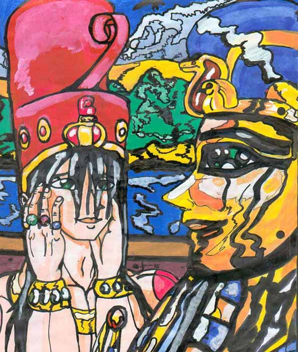 El joven Tutankhamon ante su máscara funeraria