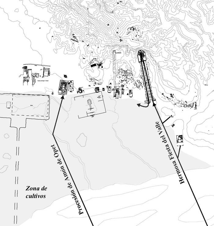 Fig. 1. Principales vías procesionales en la orilla occidental, remarcando la zona de cultivo.