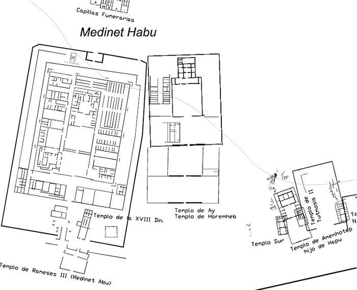 Fig. 3. Localización del pequeño templo de la dinastía XVIII.