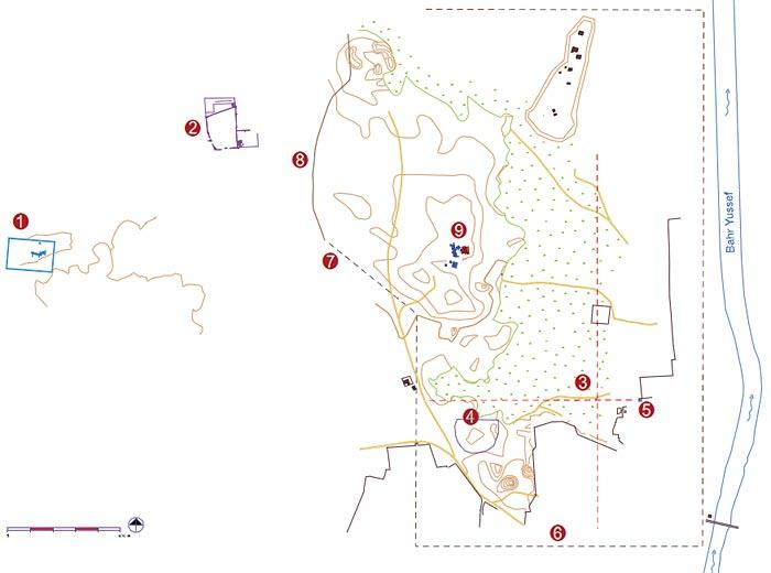 Fig. 12. El yacimiento de Oxirrinco comprende los restos de la antigua ciudad y una extensa zona de suburbios donde proliferaban monumentos e infrastructuras vitales para la vida de los oxirrinquitas. En primer lugar, un santuario dedicado al dios Osiris <strong>(1)</strong> a unos 2 km al oeste de la ciudad, punto de atracción para la formación de una necrópolis que se añade a los monumentos funerarios diseminados alrededor de la ciudad. En segundo lugar, un dominio fortificado <strong>(2)</strong> que ilustra la transformación de la vida rural a lo largo de los siglos de civilización clásica. La ciudad en sí aprovechaba la orilla del Bahr Yussef como límite oriental y como puerto fluvial, concebida en parte con un urbanismo regular con calles porticadas y monumentales en los cruces de las calles principales <strong>(3)</strong>. De la arquitectura monumental prácticamente solo quedan los restos de un teatro <strong>(4)</strong> y de una puerta de tradición faraónica <strong>(5)</strong>. No se conocen los límites de la ciudad, pero se propone como hipótesis <strong>(6)</strong>, un trazado regular que prolonga los restos de la muralla que aún se adivina <strong>(7)</strong> y que deben corresponder al período tardío <strong>(8)</strong>. Dentro de este espacio, se halla confinada la llamada Necrópolis Alta <strong>(9)</strong> con los restos más antiguos del yacimiento y que domina desde un montículo el resto de la ciudad.