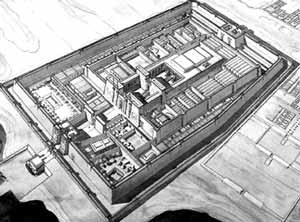 Reconstrucción del templo de Ramseses III en Medineth Habu (del libro de S. Aufrère, J.-Cl. Golvin y J.-Cl. Goyon, L'Egypte restituée. Sites et temples de Haute Égypte, París, 1991)