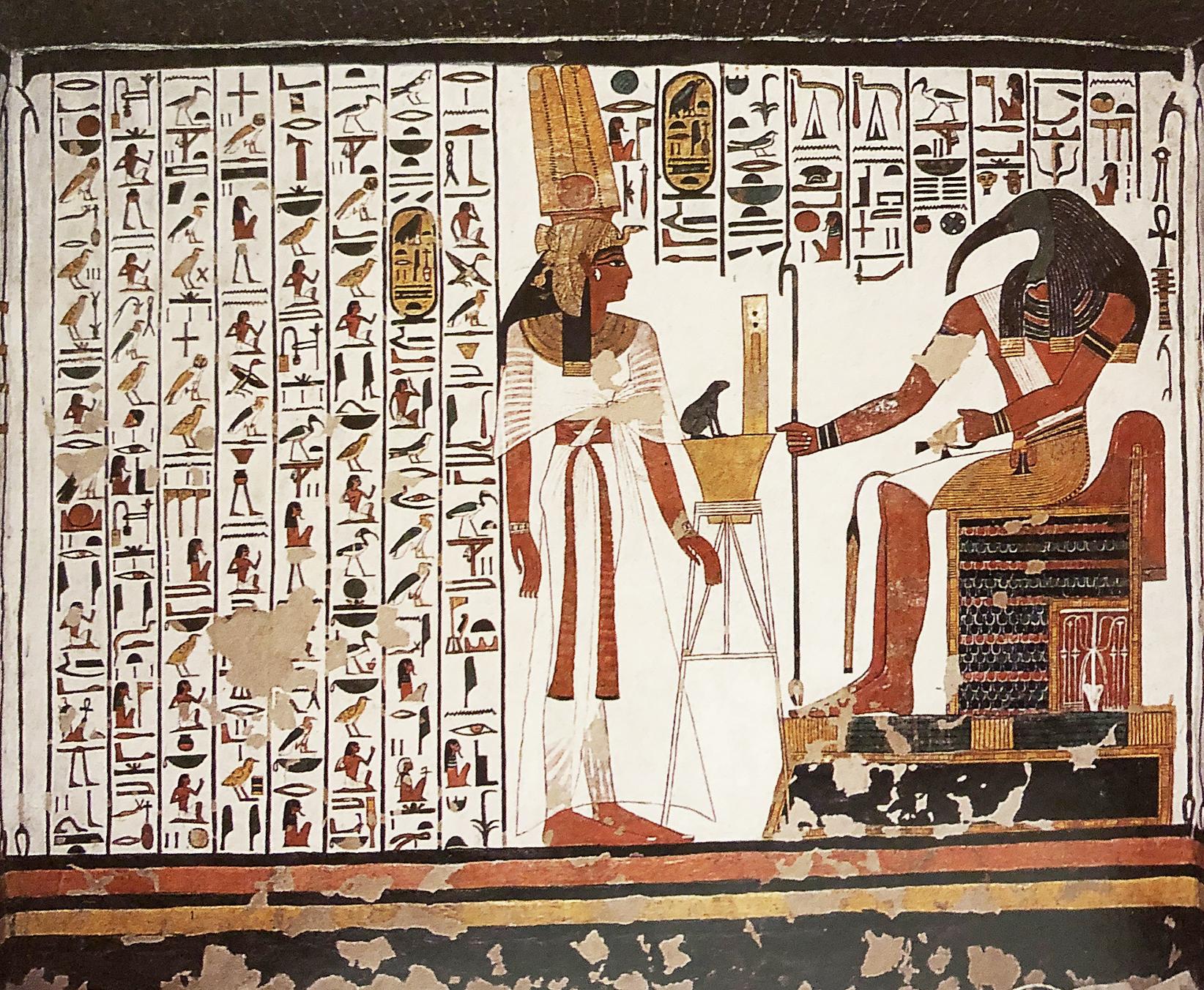 Imagen 5. Nefertari ante Thot y capítulo 94 del Libro de los Muertos, muro norte