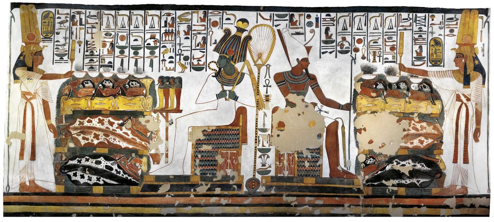 Imagen 7. Doble imagen de Nefertari haciendo una ofrenda a Osiris y Atum