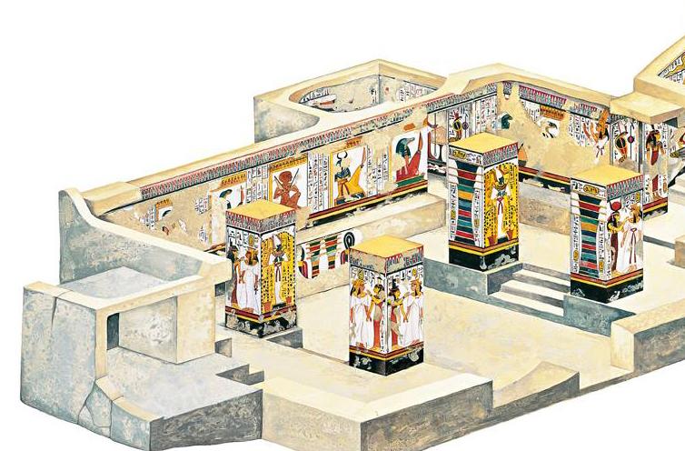 Imagen 1, corte de la cámara del sarcófago, lado derecho