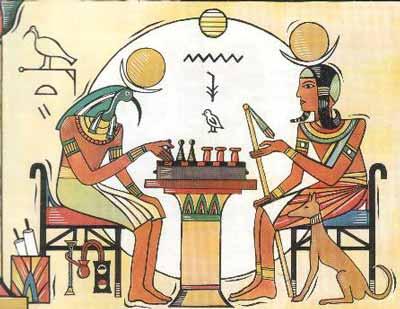 El dios Thot y el dios Jonsu jugando al Senet