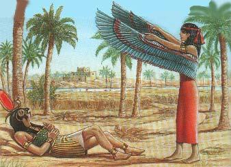 Isis con las alas extendidas ante las súplicas de Ra