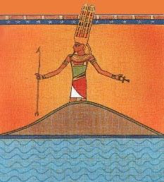 Amón-Ra, el dios del Sol, nace del océano Nun en la cima de la colina