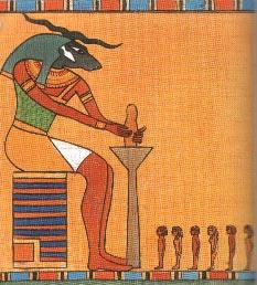 El dios Jnum modela a los hombres en su torno de alfarero