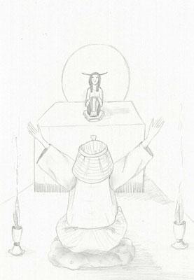 Para conseguir que Jnum liberara la crecida, Dyoser tuvo que ir a Elefantina en busca de una paleta de escriba y una cuerda de agrimensor para medir los campos. El faraón imploró los favores del dios pidiéndole la salvación de su pueblo. Pero sus plegarias no fueron atendidas. Sin embargo, decidió quedarse en la isla de Elefantina luchando hasta el final, aunque le costara la vida