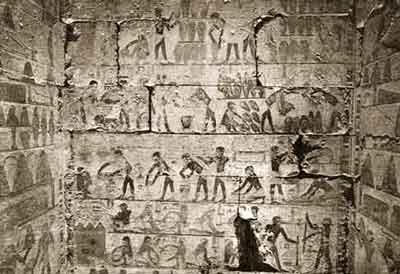 Elaboración de la cerveza (Mastaba de Ty, Saqqara, Reino Antiguo)